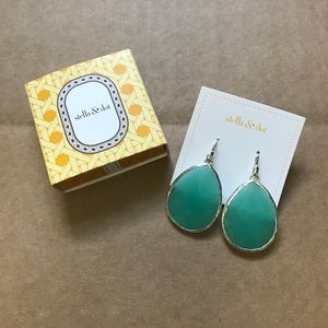NWT Stella & dot blue silver faceted earrings